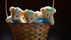Longueur foncée de hd de fond de panier d'ours de jouet de trois laines de lumière en bois du soleil banque de vidéos