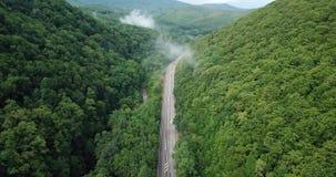 longueur 4K courante aérienne de la conduite le long de la route de passage de montagne d'enroulement par la forêt à Sotchi, Russ clips vidéos