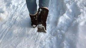 longueur Lent-MOIS Les pieds de fille marche dans la neige Vue arrière banque de vidéos