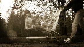 Longueur noire et blanche : scène drôle - chien dans un chariot à supermarché clips vidéos