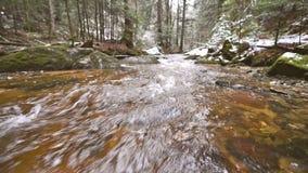 Longueur régulière de came, rivière de montagne, courant, crique avec la rapide en automne en retard, hiver tôt avec la neige, go banque de vidéos
