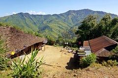 Wodden long house in Longwa tribal village, Mon, Nagaland, India, Myanmar royalty free stock photo