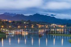 Longwood bridge sangklaburi at night. Sangkalia river Stock Photo