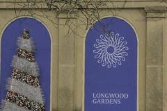 Longwood Gardens at Christmastime. Longwood Gardens is an American botanical garden in Kennett Square, Pennsylvania in the Brandywine Creek Valley. It is one of stock photo