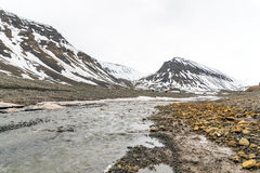 Longyear river in Svalbard Royalty Free Stock Image