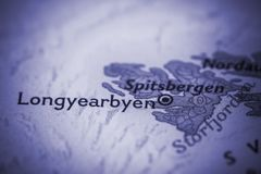 Longyearbyen στο χάρτη Στοκ Φωτογραφίες