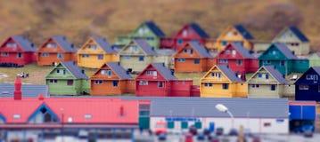 Longyearbyen. Multi-colored model-like terraced houses. Longyearbyen, Svalbard, Norway Stock Photography