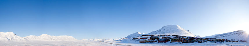 Longyearbyen. A panorama of Longyearbyen on the island of Spitsbergen, Norway.  The northern most town in the world Royalty Free Stock Images