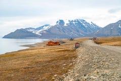 Longyearbyen city in summer, Svalbard Royalty Free Stock Photography