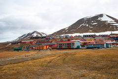 Longyearbyen city, Svalbard. Colorful houses in Longyearbyen, Svalbard, Norway Stock Image