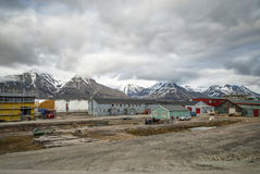 Longyearbyen city, Svalbard. Colorful houses in Longyearbyen, Svalbard, Norway Royalty Free Stock Images