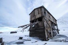 Longyearbyen, de oude noordpoolbouw Royalty-vrije Stock Fotografie