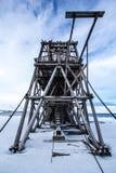 Longyearbyen, de oude noordpoolbouw Stock Foto's