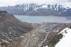 Longyearbyen from high above Royalty Free Stock Photo