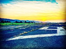Lonley airfield. Sky sunset beautiful Royalty Free Stock Photo