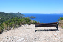 Lonley table on hill. Near the sea Stock Image