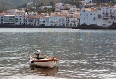 Lonly boat Mediterranean sea Stock Image