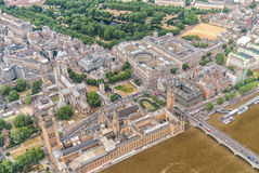 Lonon. Aerial view of Westminster and Big Ben from helicopter Stock Images