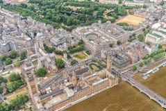 Lonon Vista aérea de Westminster y de Big Ben del helicóptero Imagenes de archivo