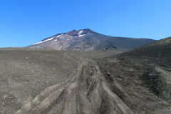 Lonquimay volcano road in ash in Chile stock photos