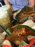 Lontong sate. Its all about indonesian food Stock Photo