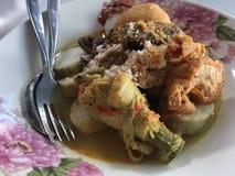 Lontong sayur Indonezyjski ryżowy tort z polewką fotografia stock