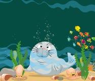 A lontra está sob uma água do mar ilustração stock