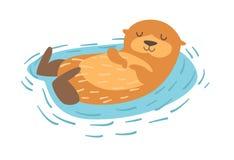 lontra Ilustração lisa do vetor dos desenhos animados Imagem de Stock