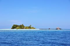 Lonubo island, Maldives. View of Lonubo island from the boat, Ari Atoll, Maldives Stock Photo