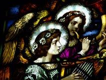 Lood-glas met engelen royalty-vrije stock afbeeldingen