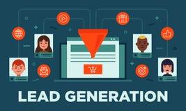 Loodbeheer, loodgeneratie, omzetting, online vlakke vector de bannerillustratie van de verkoopoptimalisering met pictogrammen royalty-vrije illustratie