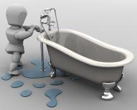 Loodgieter die een lek bevestigt royalty-vrije illustratie