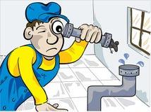 Loodgieter en muis Stock Foto's