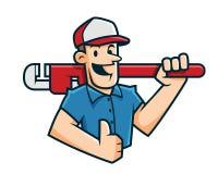 Loodgietermascotte, loodgieterkarakter, arbeidersbeeldverhaal Royalty-vrije Stock Foto