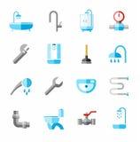 Loodgieterswerk, gekleurde pictogrammen, vlakte Royalty-vrije Stock Foto's