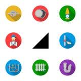 Loodgieterswerk vastgestelde pictogrammen in vlakke stijl Grote inzameling van loodgieterswerk vectorsymbool vector illustratie