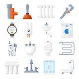Loodgieterswerkmateriaal en hulpmiddelen vectorpictogrammen stock illustratie