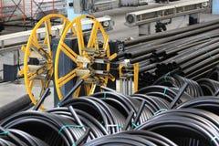 Loodgieterswerkpijpen, de industrie, vervaardiging van pijpen Stock Fotografie