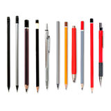 Loodpotloden op wit, verscheidene potloden, mechanische penc worden geïsoleerd die stock foto