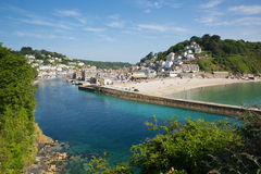 Looe Cornwall England. Cornish coast at Looe Cornwall England fishing port on a sunny blue sky day Royalty Free Stock Photo