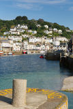 Looe harbour Cornwall with boats moored Stock Image