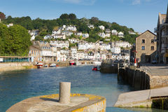 Looe harbour Cornwall England with blue green sea Royalty Free Stock Photography