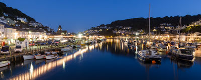Looe Harbour at Night Cornwall England. UK Europe Stock Photography