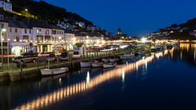 Looe Harbour at Night Cornwall England Royalty Free Stock Photo