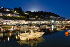Looe Harbour at Night Cornwall England Stock Photos