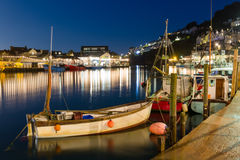 Looe Harbour at Night Cornwall England Royalty Free Stock Photography