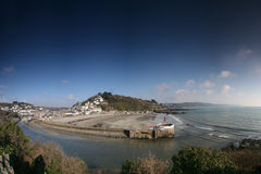 Looe Harbour. Panoramic view of Looe Harbour Royalty Free Stock Photos
