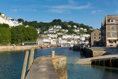 Looe harbour wall and river Cornwall England blue sea and sky Royalty Free Stock Images