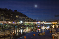 Looe river and quay at christmas, night time, Cornwall, UK Royalty Free Stock Image