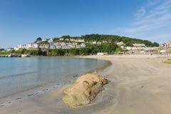 Looe stad och strand Cornwall England Arkivbilder